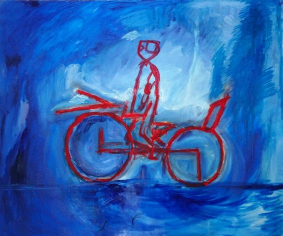 Robot-kiborg vozi bicikl